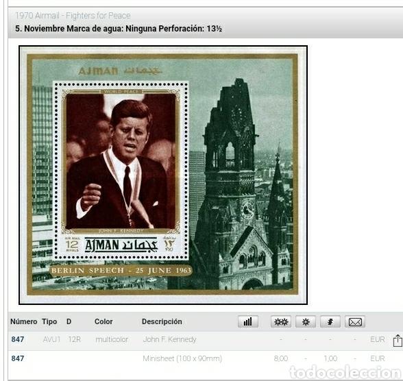 Sellos: HB Ajman (E.A.U) mtdas/1970/luchadores/paz/J/F/Kennedy/politico/arte/arquitectura/lideres/celwbridad - Foto 2 - 262629555