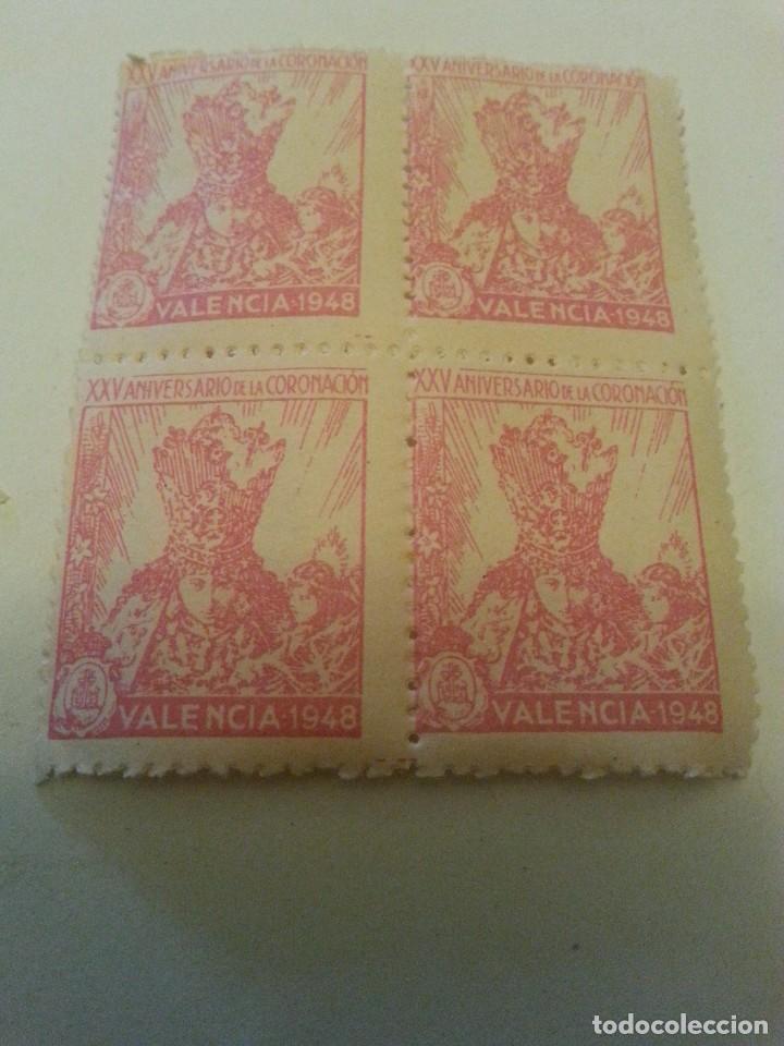 VIRGEN DE LOS DESAMPARADOS, PATRONA DEL REINO DE VALENCIA. XXV ANIV. 1948. CADA UNIDAD 4 VIÑETAS. (Sellos - Temáticas - Historia)