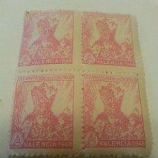 Sellos: VIRGEN DE LOS DESAMPARADOS, PATRONA DEL REINO DE VALENCIA. XXV ANIV. 1948. CADA UNIDAD 4 VIÑETAS.. Lote 262842500