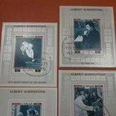 Sellos: HB (4/6) AJMAN (E.A.U) MTDO/1971/ALBERT/SCHWETZER/MUSICO/MEDICO/MISIONERO/FAMOSO/CELEBRIDAD/AFRICA. Lote 263028670