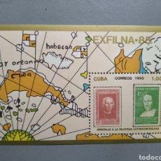Sellos: HOJA BLOQUE CUBA SELLO 1985 COLON. Lote 266998744