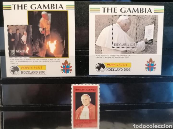 PAPA JUAN PABLO II VIAJES GAMBIA LOTE 3 HBS Y SELLOS GABON SELLOS NUEVO MNH *** (Sellos - Temáticas - Historia)