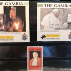 Sellos: PAPA JUAN PABLO II VIAJES GAMBIA LOTE 3 HBS Y SELLOS GABON SELLOS NUEVO MNH ***. Lote 268038779