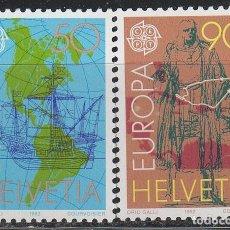 Sellos: SUIZA IVERT 1393/4, 5º CWENTENARIO DEL DESCUBRIMIENTO DE AMERICA, NUEVO, SERIE COMPLETA. Lote 269292438