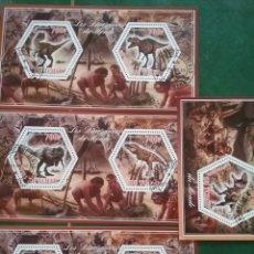 Francobolli: HB (4) CHAD (TCHAD) MTDOS/2014/ANIMALES/PREHISTORIA/NEARDENTAL/EDAD/PIEDRA/DINOSAURIO/REX/FAUNA/NATU. Lote 270110118
