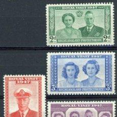 Sellos: BECHUANALAND 1947 YVERT 82/5 ** VISITA REAL - JORGE VI Y LA REINA ISABEL II. Lote 270592293