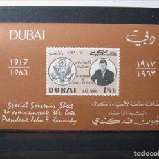 Sellos: DUBAI TEMA KENNEDY HOJITA 1963 MNH** SIN CHARNELA LUJO!!!. Lote 275282928