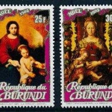 Sellos: BURUNDI 1983 IVERT 882/5 *** NAVIDAD - PINTURAS DE LA VIRGEN Y EL NIÑO JESÚS - ARTE. Lote 276644248