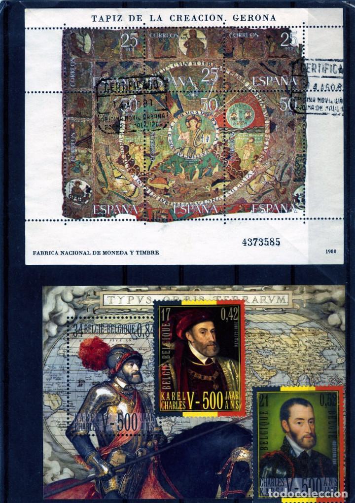 HOJA BLOQUE DE ESPAÑA(TAPIZ DE LA CREACION-GERONA) Y HOJA BLOQUE DE BELGICA Y SERIE . (Sellos - Temáticas - Historia)
