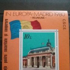 Sellos: HB RUMANIA (P. ROMANA) NUEVO/1980/CONFERENCUA/SEGURIDAD/MADRID/ARTE/ARQUITECTURA/BANDERA/EDIFICIO/G. Lote 279382733