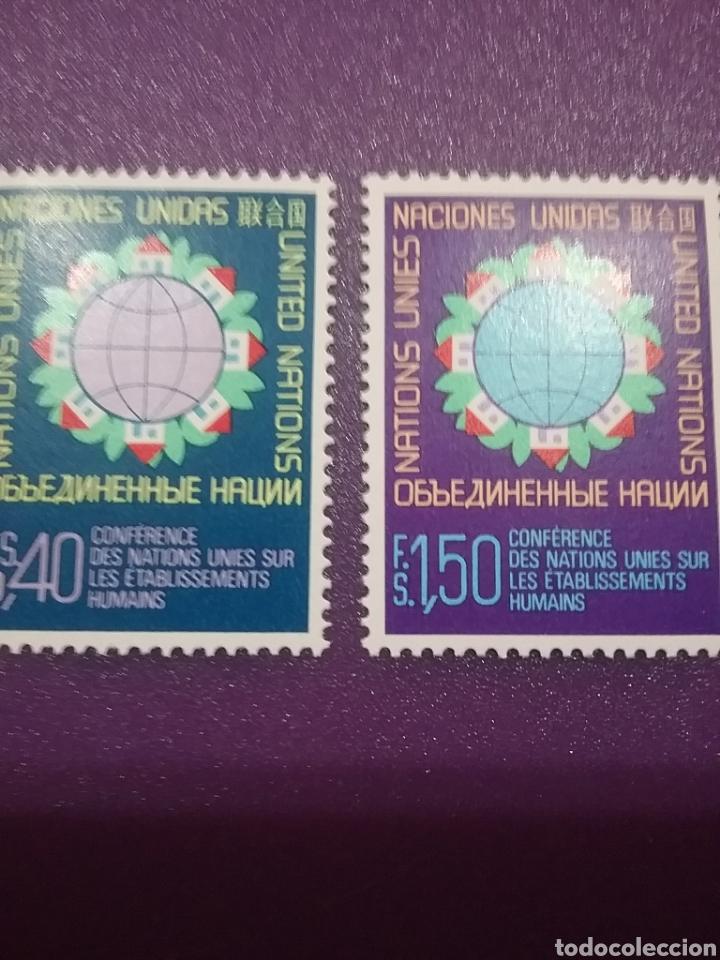 SELLO NACIONES UNIDAS (GINEBRA) NUEVO/1976/CONFERENCIA/INTER/ASENTAMIENTO/HUMANO/CASAS/GLOBO/TERRAQU (Sellos - Temáticas - Historia)