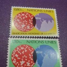 Sellos: SELLO NACIONES UNIDAS (GINEBRA) NUEVO/1978/ERRADICACION/VIRUELA/VIRUS/CULTIVO/GLOBO/TERRAQUEO/ARTE/. Lote 288367903