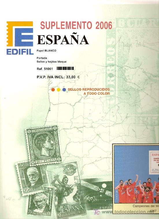 EDIFIL SUPLEMENTO 2006 MONTADO CON FILOESTUCHES NEGROS (Sellos - Material Filatélico - Hojas)