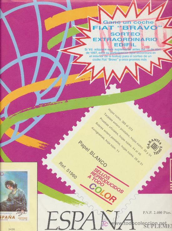 SUPLEMENTO DE HOJAS PARA SELLOS DE ESPAÑA 1996 EDIFIL. SIN MONTAR. (Sellos - Material Filatélico - Hojas)