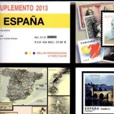 Sellos: SUPLEMENTO EDIFIL 2013 MONTADO EN BLANCO CON FILOESTUCHES FARO NUEVO A ESTRENAR. Lote 40457709
