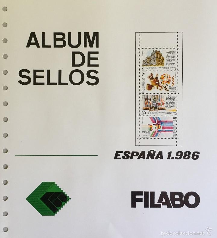 HOJAS ESPAÑA - FILABO SEMI-NUEVAS AÑOS 1986 CON FILOESCHUCHES EN NEGRO (Sellos - Material Filatélico - Hojas)
