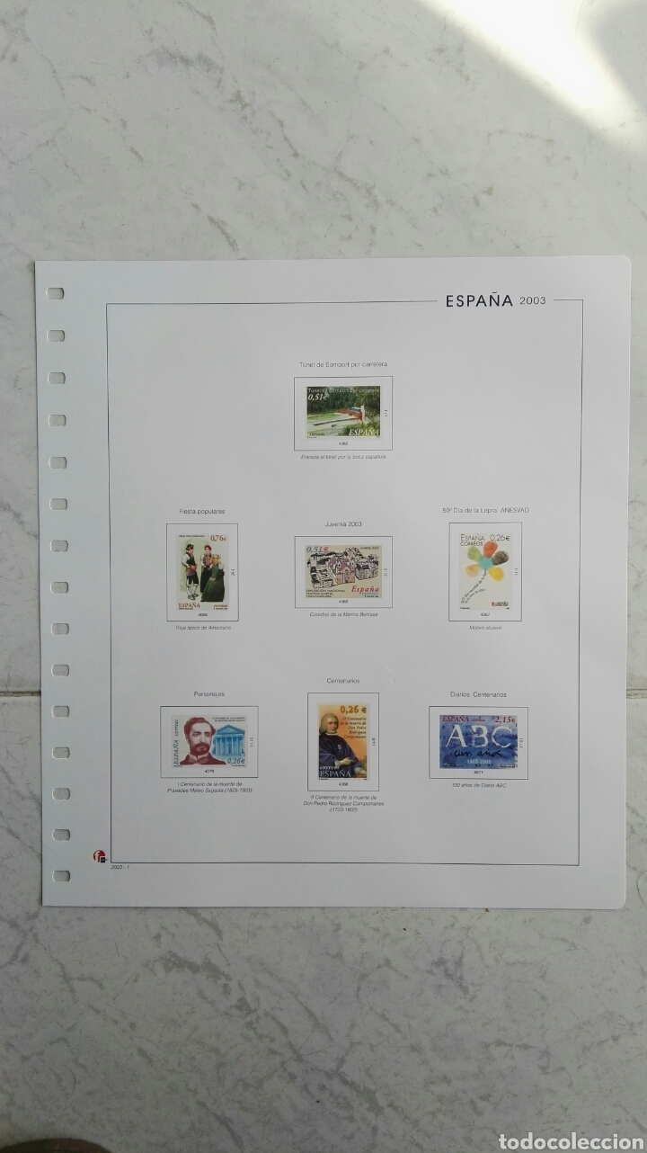 SUPLEMENTO UNIFIL ESPAÑA 2003 VARIOS (Sellos - Material Filatélico - Hojas)