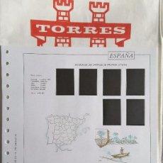 Sellos: HOJAS TORRES AÑO 1965 COMPLETO - MONTADO EN NEGRO. Lote 112682531