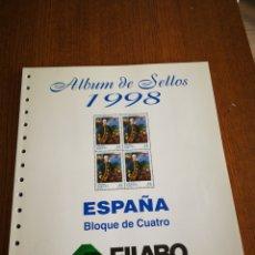 Sellos: SUPLEMENTO FILABO PARA BLOQUES DE 4 AÑO 1998. Lote 128316274