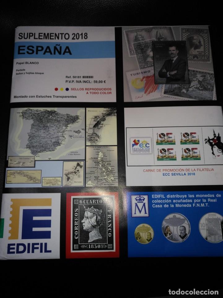 ESPAÑA SUPLEMENTO EDIFIL 2018 PARCIAL MONTADO (Sellos - Material Filatélico - Hojas)