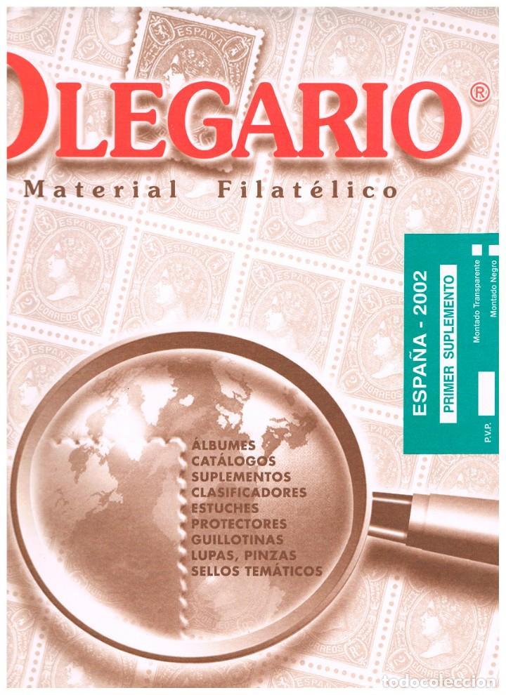 HOJAS OLEGARIO AÑO 2002 - PRIMER SUPLEMENTO. MONTADAS CON ESTUCHES TRANSPARENTES (Sellos - Material Filatélico - Hojas)