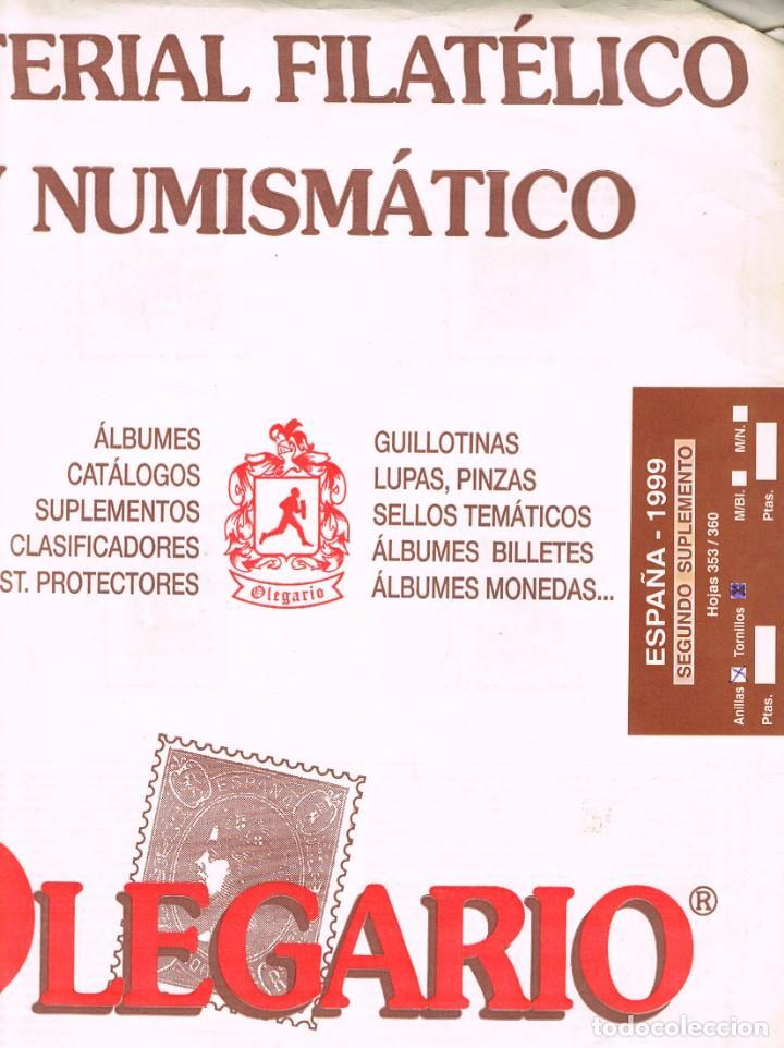HOJAS OLEGARIO AÑO 1999 - SEGUNDO SUPLEMENTO. MONTADAS CON ESTUCHES TRASPARENTES PARCIALMENTE (Sellos - Material Filatélico - Hojas)