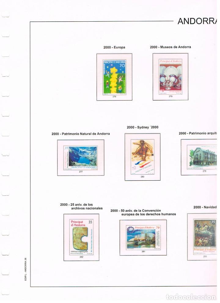HOJAS EDIFIL ANDORRA AÑO 2000, ANILLAS, COLOR, MONTADAS CON ESTUCHES TRANSPARENTES. HOJA Nº 38 (Sellos - Material Filatélico - Hojas)