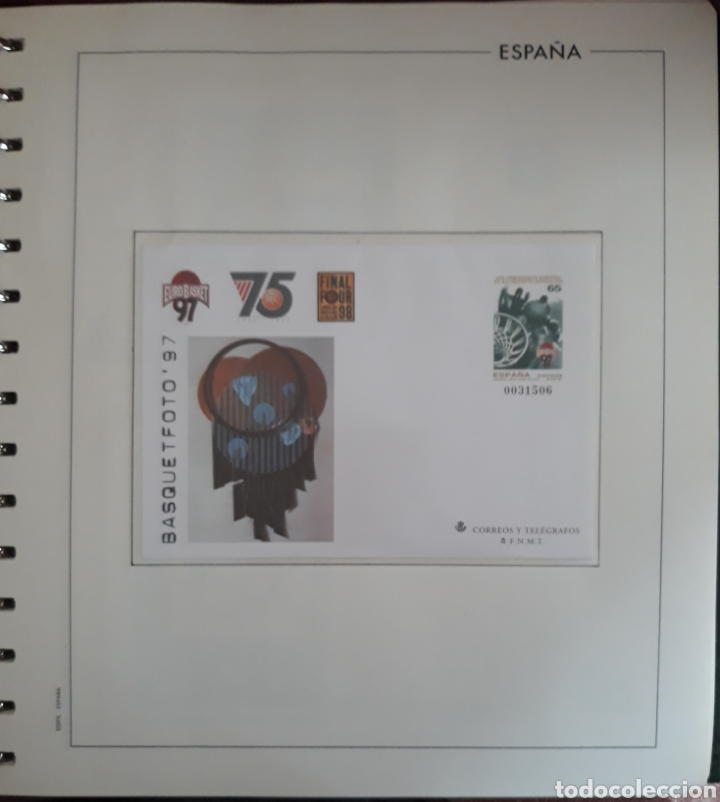 HOJA SOBRE ENTERO POSTAL BASKET FOTO 1997 (Sellos - Material Filatélico - Hojas)