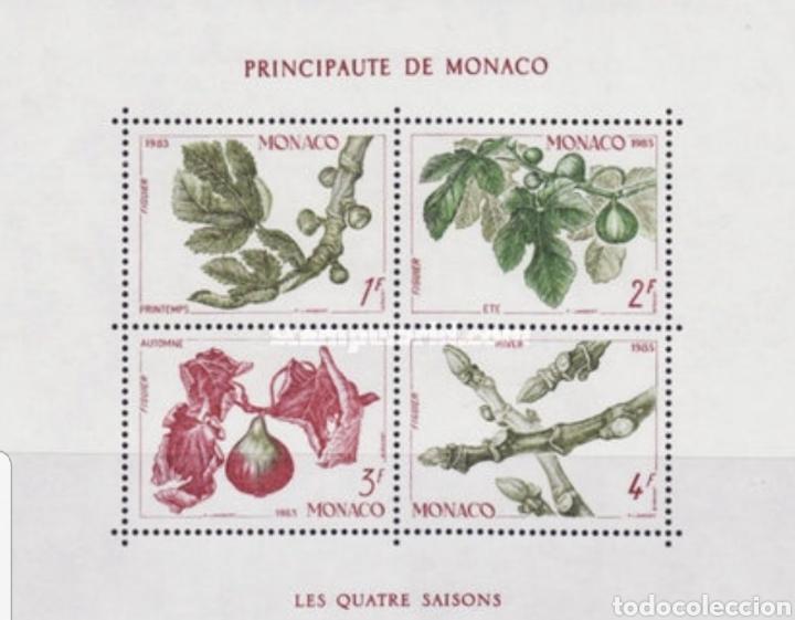 HOJA 4 SELLOS MÓNACO 1983 (Sellos - Material Filatélico - Hojas)