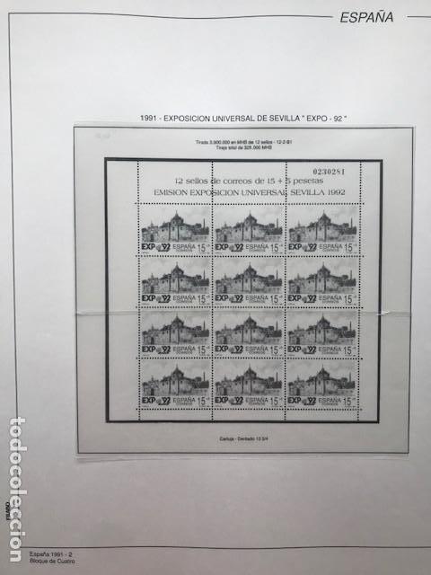 Sellos: Hojas Filabo año 1991 en bloque de 4 Suplemento 16 hojas Filabo España 1991 LEER HFB90 - Foto 2 - 201549982