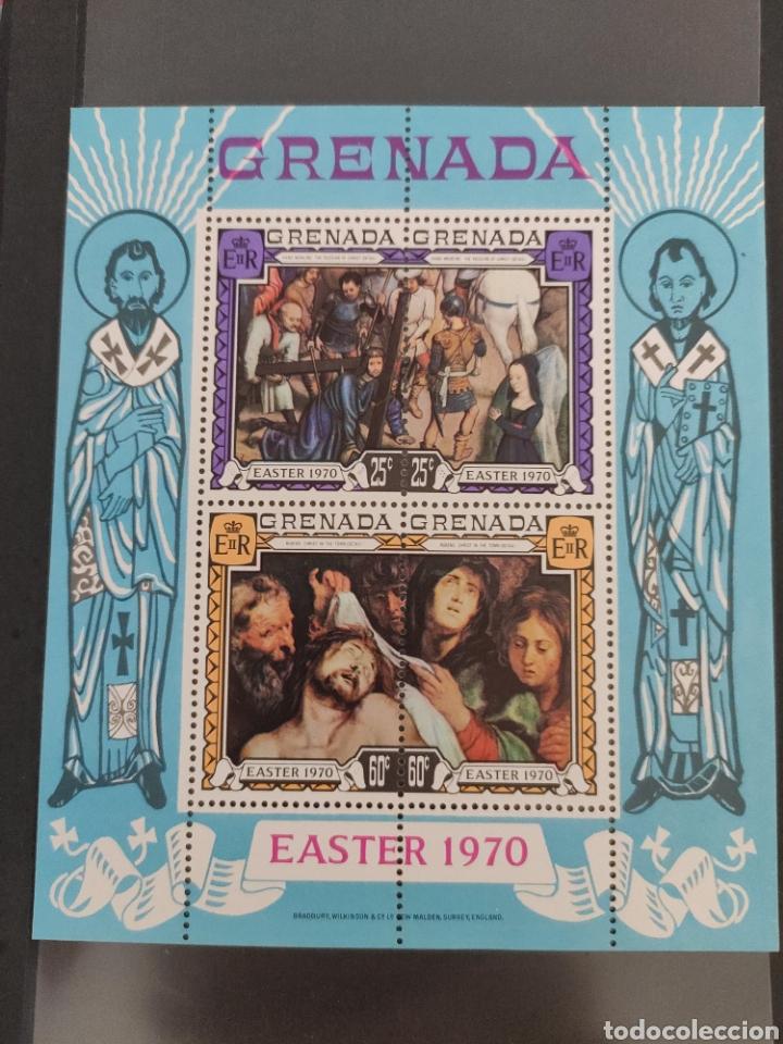 GRANADA PASCUA - 1970-HOJA MINIATURA MENTA NUNCA CON BISAGRAS (Sellos - Material Filatélico - Hojas)