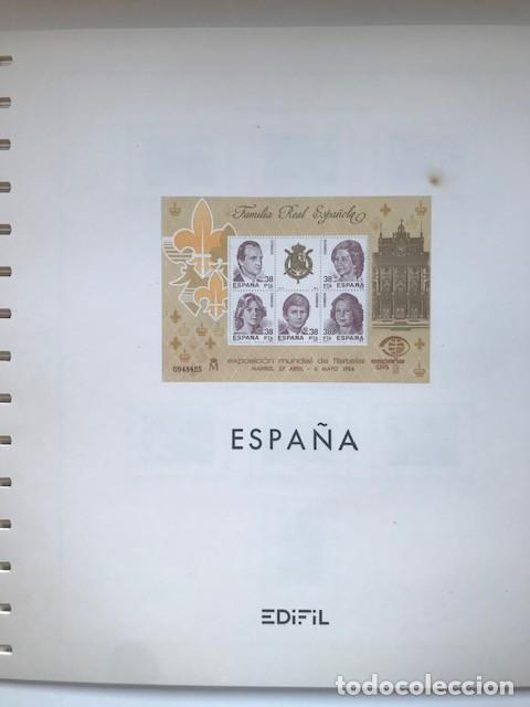 HOJAS EDIFIL ESPAÑA 1984 AÑO COMPLETO CON TARJETAS POSTALES Y AEROGRAMAS EN TRANSPARENTE HE80 84 (Sellos - Material Filatélico - Hojas)