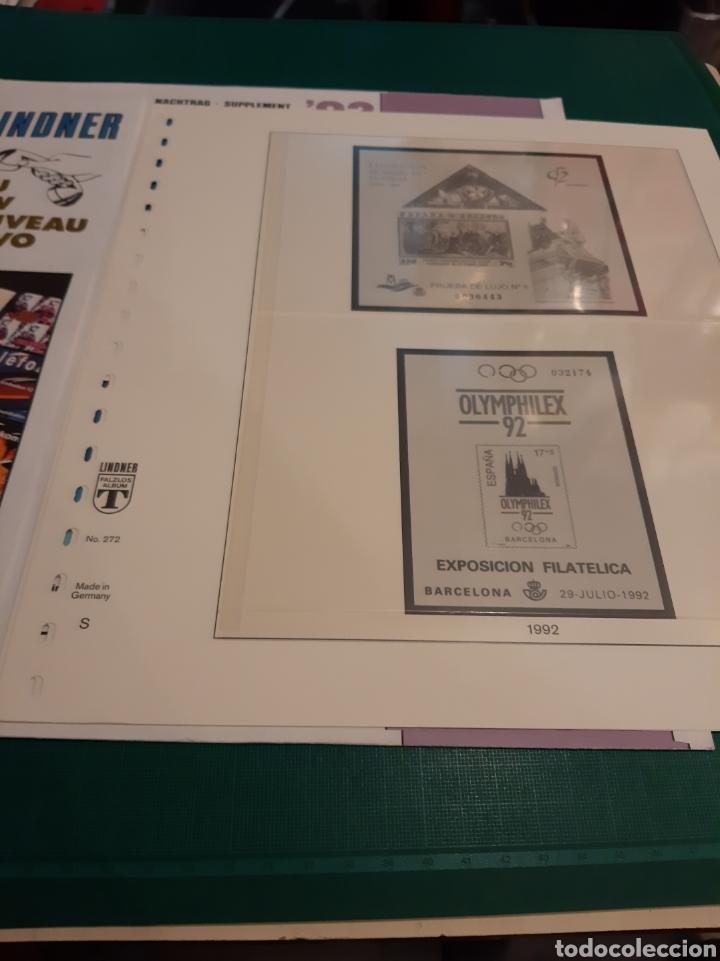 ESPAÑA HOJAS LINDNER PRUEBAS 1992 (Sellos - Material Filatélico - Hojas)
