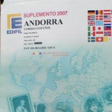 Sellos: ANDORRA ESPAÑOLA HOJAS DE ÁLBUM EDIFIL SUPLEMENTO AÑO 2007 SIN MONTAR (NUEVAS). Lote 218524562