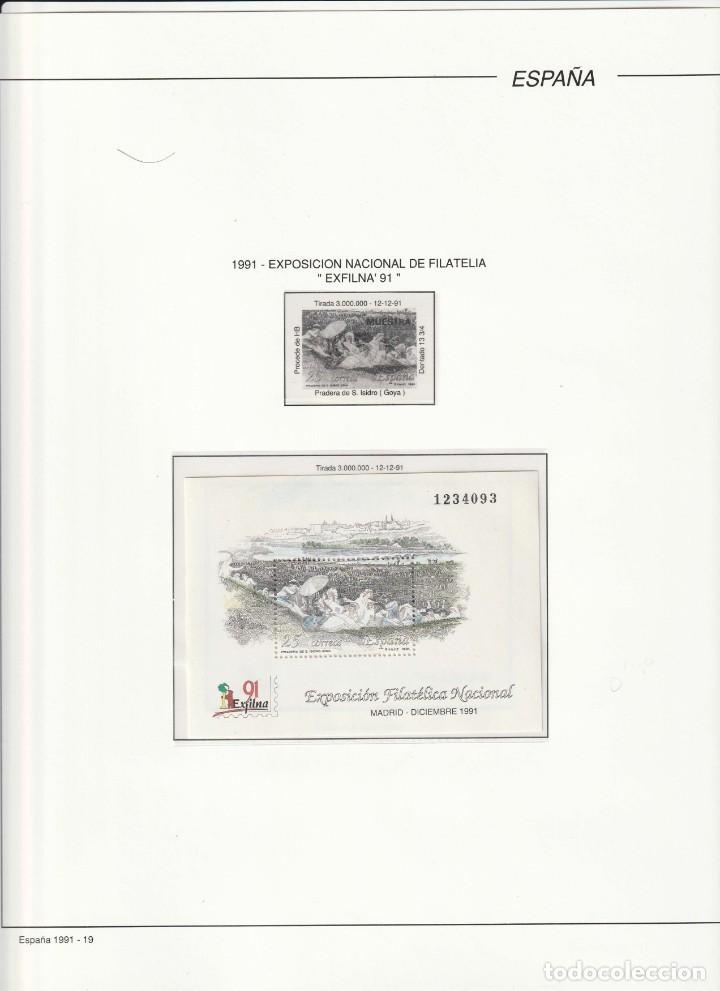 1991 HOJITA NUEVA EXFILNA 91 EN HOJA FILABO.EDIFIL 3145 (Sellos - Material Filatélico - Hojas)