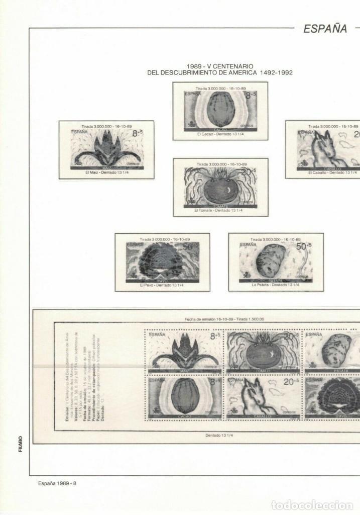 1989 HOJA 8 FILABO ESPAÑA V CENTENARIO DEL DESCUBRIMIENTO DE AMÉRICA 1492-1992.ESTUCHADO TRANSPARENT (Sellos - Material Filatélico - Hojas)