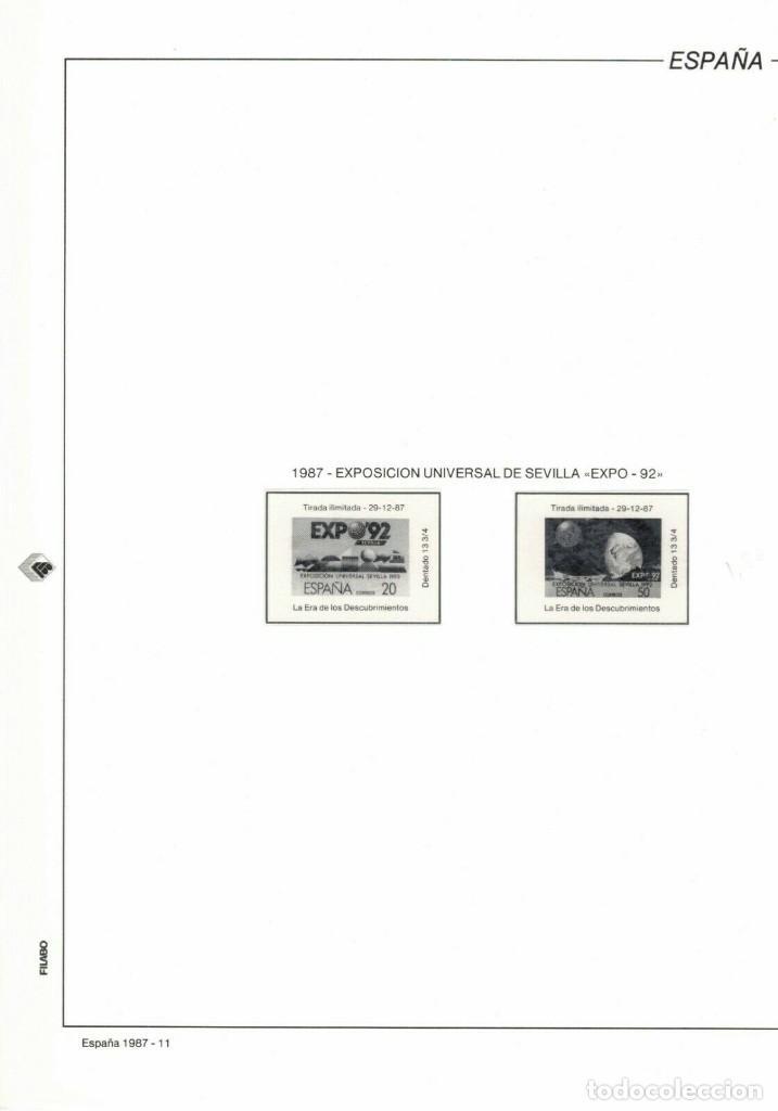 1987 HOJA 11 FILABO EXPO 92 SEVILLA .ESTUCHADO TRANSPARENTE (Sellos - Material Filatélico - Hojas)