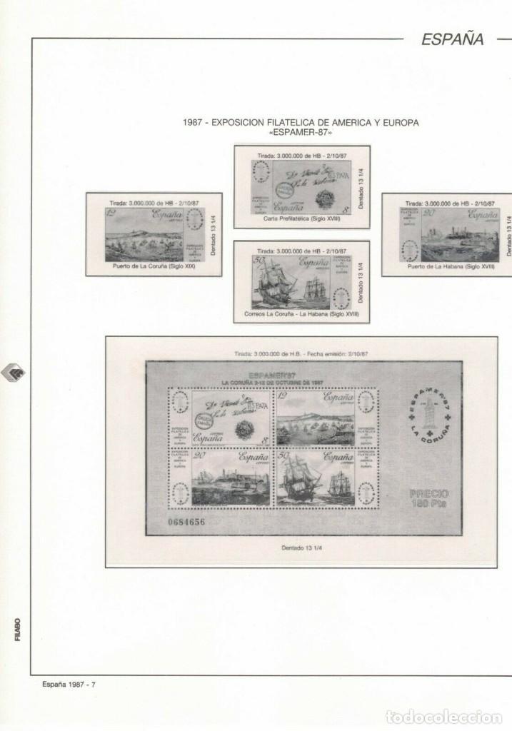 1987 HOJA 7 FILABO ESPAMER 87 SERIE Y HOJITA.ESTUCHADO TRANSPARENTE (Sellos - Material Filatélico - Hojas)