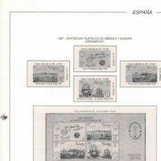 Sellos: 1987 HOJA 7 FILABO ESPAMER 87 SERIE Y HOJITA.ESTUCHADO TRANSPARENTE. Lote 219107808