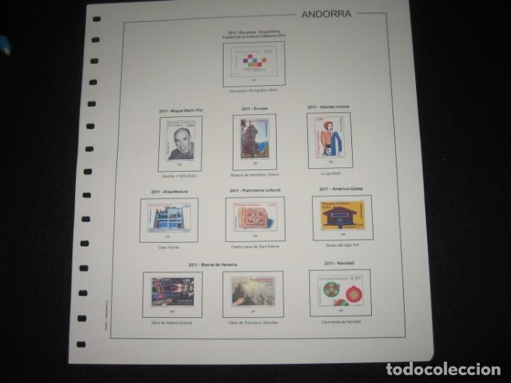 SIETE SUPLEMENTOS DE SELLOS DE ANDORRA ESPAÑOLA 2011 SIN ESTUCHES DE FILABO (Sellos - Material Filatélico - Hojas)