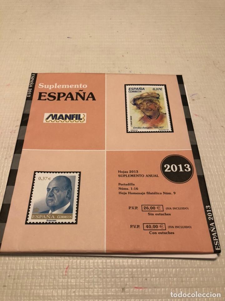 HOJAS SUPLEMENTO SELLOS ESPAÑA AÑO 2013 MANFIL. SIN FILOESTUCHES (Sellos - Material Filatélico - Hojas)