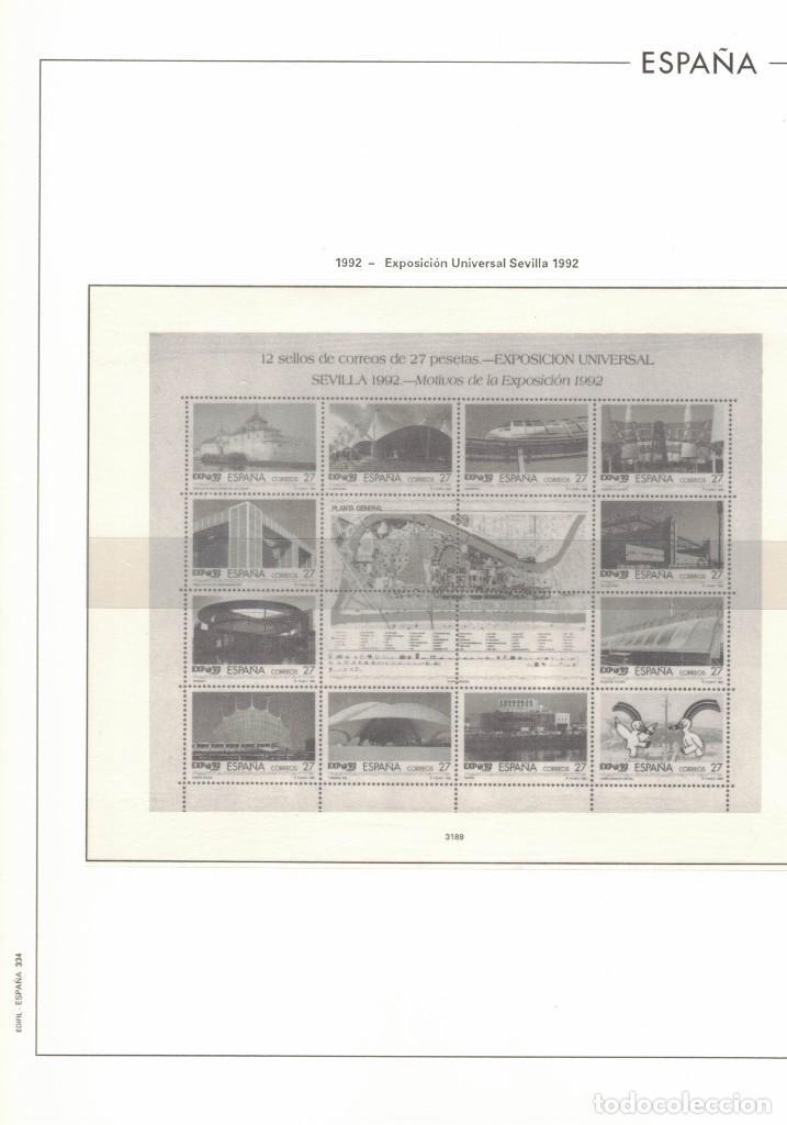 1992 HOJA 334 ESPAÑA EXPOSICIÓN UNIVERSAL DE SEVILLA.ESTUCHADO TRANSPARENTE (Sellos - Material Filatélico - Hojas)