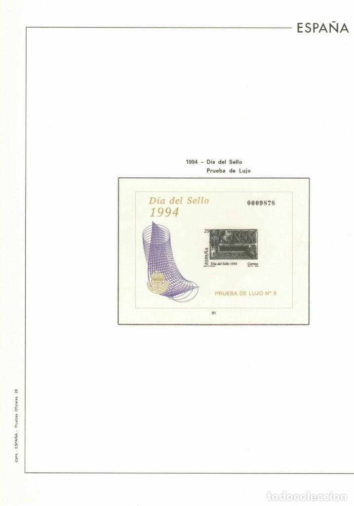 HOJA Nº29 PRUEBAS OFICIALES 1994 DIA DEL SELLO. ESTUCHADO TRANSPARENTE.COLOR (Sellos - Material Filatélico - Hojas)