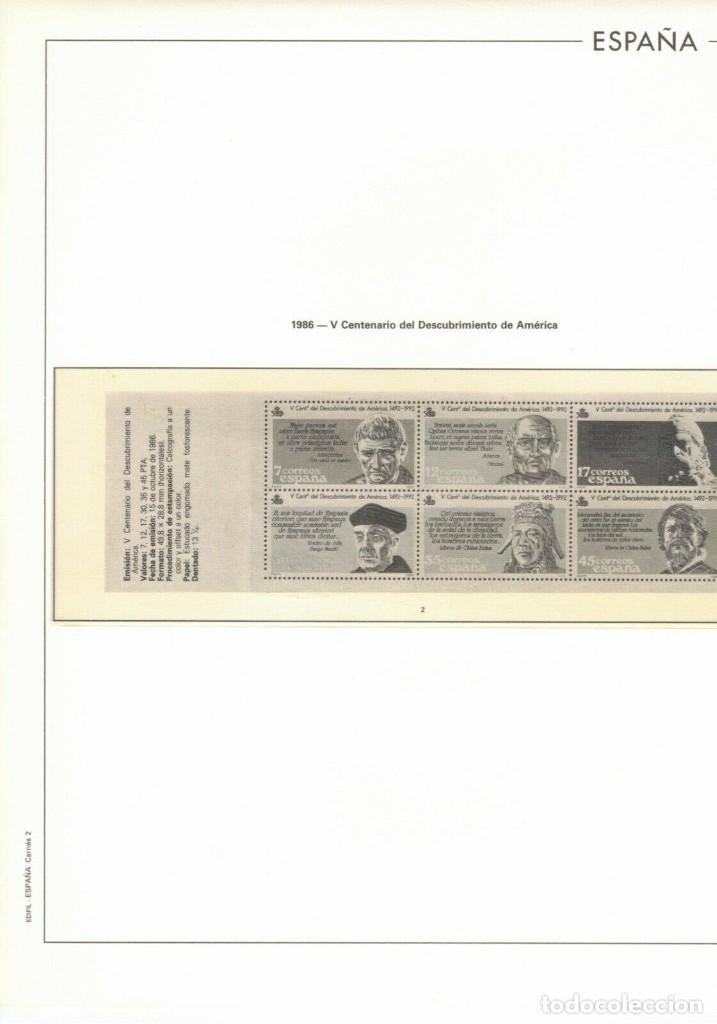 HOJA 1986 EDIFIL ESPAÑA CARNETS 2 .V CENTENARIO DESCUBRIMIENTO DE AMÉRICA (Sellos - Material Filatélico - Hojas)