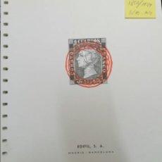 Francobolli: ESPAÑA HOJAS DE ÁLBUM EDIFIL AÑOS 1850 AL 1949 SIN MONTAR Y MONTADAS EN BLANCO (SEMI NUEVAS). Lote 227650695