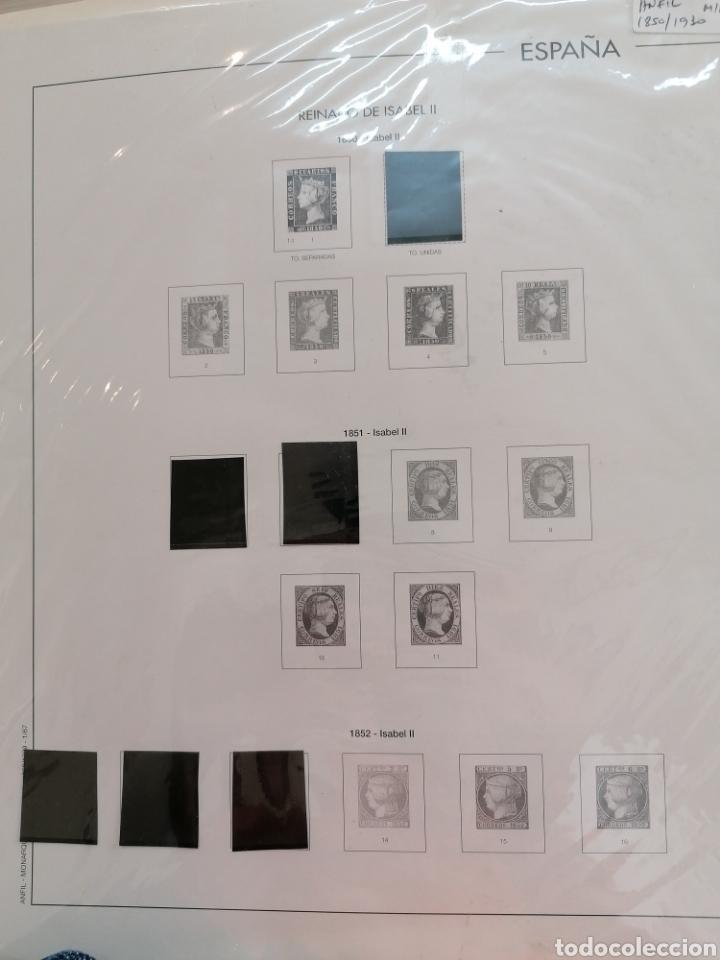 ESPAÑA HOJAS DE ÁLBUM FILABO/EDIFIL MONTADAS PARCIALMENTE EN NEGRO AÑOS 1850 AL 1930 (Sellos - Material Filatélico - Hojas)