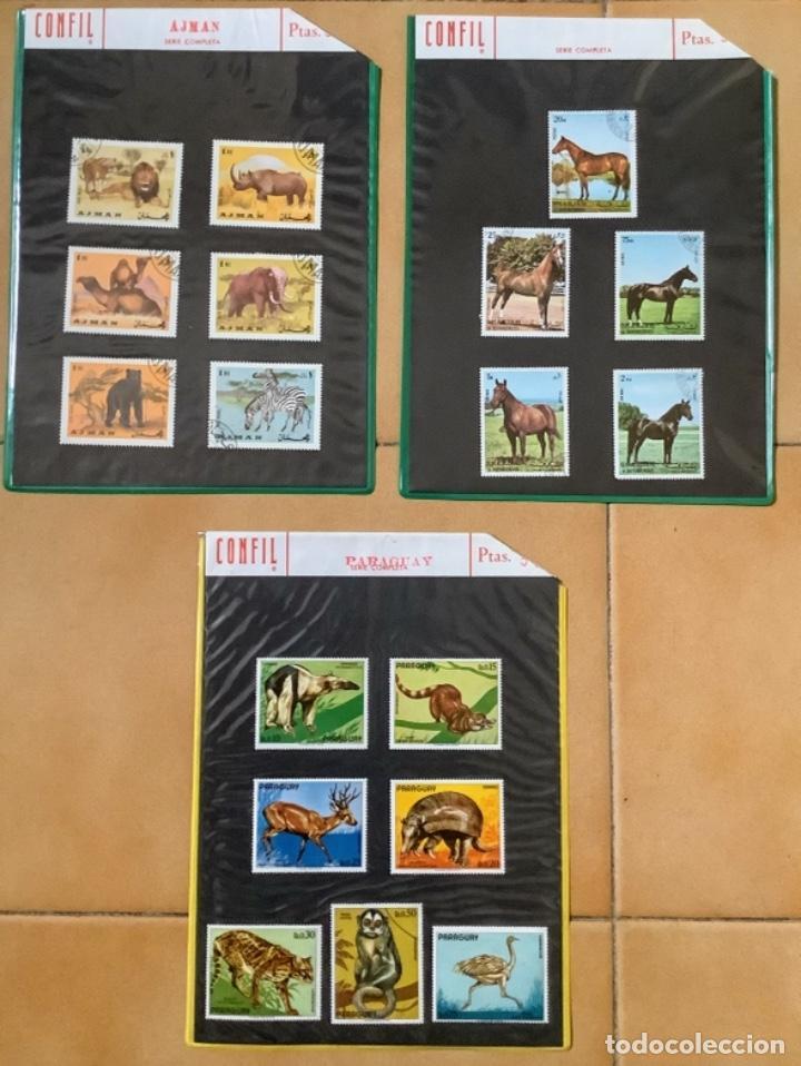 SELLOS DE ANIMALES EN 3 HOJAS CARTULINA EN FUNDAS PLÁSTICO (Sellos - Material Filatélico - Hojas)