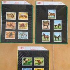 Sellos: SELLOS DE ANIMALES EN 3 HOJAS CARTULINA EN FUNDAS PLÁSTICO. Lote 264613809