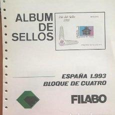 Sellos: HOJAS FILABO ESPAÑA EN BLOQUE DE 4 AÑO 1993 MONTADAS EN TRANSPARENTE HFB90 1993. Lote 280557208