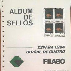 Sellos: BLOQUE DE 4 HOJAS FILABO ESPAÑA AÑO 1994 MONTADAS EN TRANSPARENTE HFB90 1994. Lote 280557318